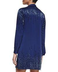 Diane von Furstenberg Prita Embellished Silk Shirtdress - Blue
