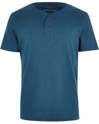 River Island Turquoise Grandad T-shirt - Lyst