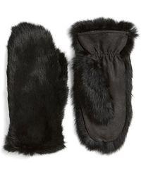 Love Token - Genuine Rabbit Fur Mittens - Lyst