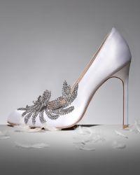 Manolo Blahnik Swan Embellished Satin Pump White - Lyst