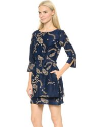 Suno Embroidered Mini Dress  Navyfloral - Lyst