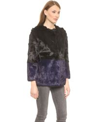 Jocelyn Colorblock Fur Coat - Black/Fig - Lyst