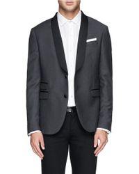 Neil Barrett Satin Shawl Lapel Virgin Wool Tuxedo Jacket gray - Lyst