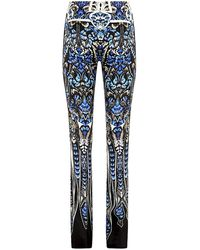 Roberto Cavalli Feather Print Silk Trousers - Lyst