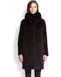 Max Mara Studio Kriss Fur-trim Cocoon Coat - Lyst