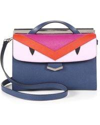 Fendi Demijour Small Monster Saffiano Leather Crossbody Bag multicolor - Lyst