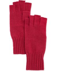 Portolano Wool Fingerless Knit Gloves pink - Lyst