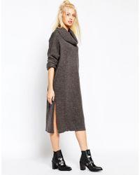 Monki Polo Neck Knitted Midi Dress - Gray