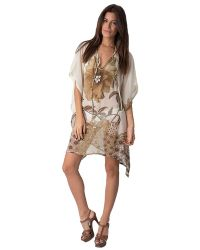 Yuka Beach - V-neck Flowers Cover Up: Turquoise - Lyst