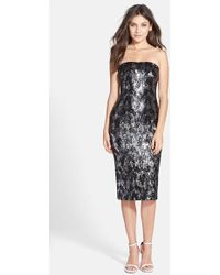 Dress the Population 'Olivia' Sequin Strapless Midi Dress - Lyst