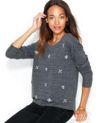 Maison Jules - Embellished Crewneck Sweatshirt - Lyst