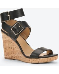 Ann Taylor Sylvie Leather And Cork Wedges black - Lyst