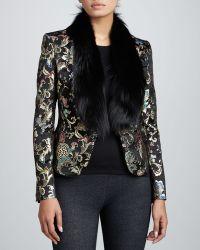 Jason Wu Brocade Jacket with Fox Fur Collar - Lyst