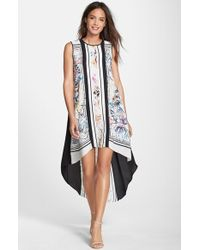 BCBGMAXAZRIA Scarf Print A-Line High/Low Dress - Lyst