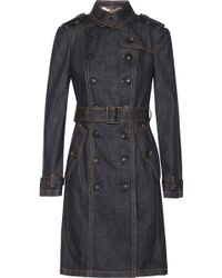 Burberry Brit Denim Trench Coat - Lyst