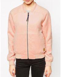 Gsus Sindustries Thun Pink Textured Bomber Jacket