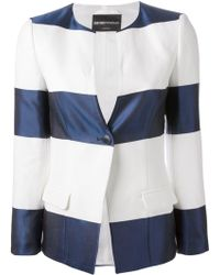 Emporio Armani Striped One-Button Blazer - Lyst