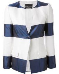 Emporio Armani Striped One-Button Blazer blue - Lyst