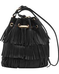 Reiss Stevie Fringe Leather Bucket Bag - Black