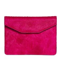 Jas MB - Leather Faux Pony Clutch Bag - Lyst
