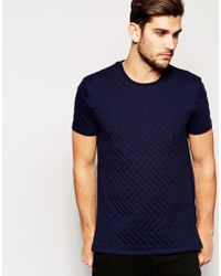 Asos White T-shirt with Quilted Front - Lyst