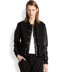 Oak Layered Front Cotton Felt Leather Varsity Jacket - Lyst