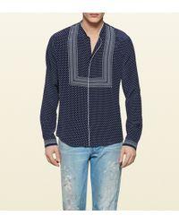 Gucci Printed Silk Crepe Shirt - Lyst