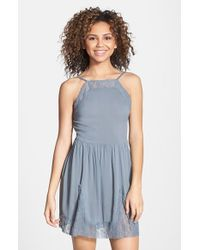 Free People Lace Inset Slip Dress - Lyst