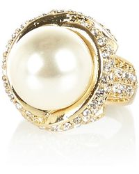 River Island Gold Tone Large Pearl Ring - Lyst