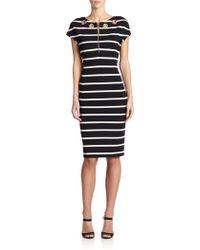 ESCADA Striped Embellished Dress - Lyst