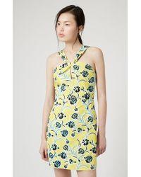 Topshop Twist Neckline Shift Dress yellow - Lyst