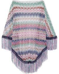 Missoni Fringed Crochet-Knit Poncho - Lyst