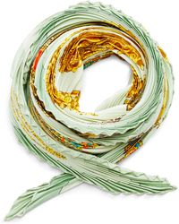 What Goes Around Comes Around Hermes Green Kosmima Accordion Scarf - Lyst