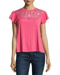 RED Valentino Capesleeve Meshcontrast Knit Tee - Lyst
