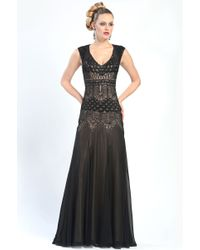 Sue Wong Cut Out Back Beaded Gown - Lyst
