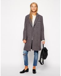 Asos Exclusive Textured Coat with Contrast Collar - Lyst