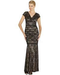 Laundry By Shelli Segal Banded Lace Vback Gown - Lyst