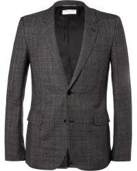 Saint Laurent Grey Slim Fit Check Wool Suit Jacket - Lyst