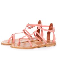 K. Jacques Pink Suede Gina Sandal - Lyst