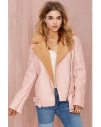 Nasty Gal Glamorous Over Shearer Vegan Leather Jacket - Lyst