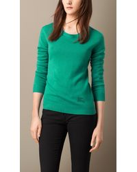 Burberry Cashmere Cotton Sweater blue - Lyst