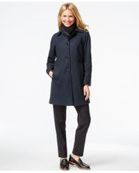 London Fog | Plus Size Peacoat With Plaid Scarf | Lyst