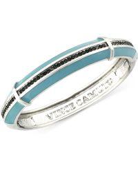 Vince Camuto - Silvertone Blue and Black Pavé Bangle Bracelet - Lyst