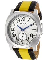 A_line - Pyar Yellow And Black Nylon Silver-tone Textured Dial Ss - Lyst