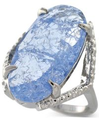 Vince Camuto - Silver-Tone Blue Glass Crackle Stone Ring - Lyst