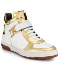 Ferragamo Leather High-Top Sneakers - Lyst