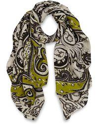 Etro Ivory and Green Delhi Print Silk Scarf - Lyst