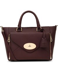 Mulberry Willow Small Leather Tote Oxblood - Lyst