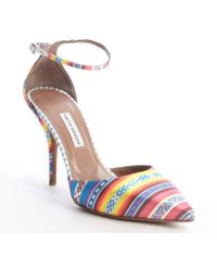 Tabitha Simmons Blue and Yellow Nad Pink Southwest Printed Satin Lou Pumps - Lyst