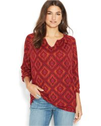 Lucky Brand Jeans Lucky Brand Three-Quarter-Sleeve Printed Top - Lyst